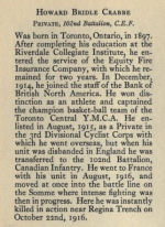 Biography– Memorial of the Great War, 1914-1918 published by the Bank of Montreal 1921.