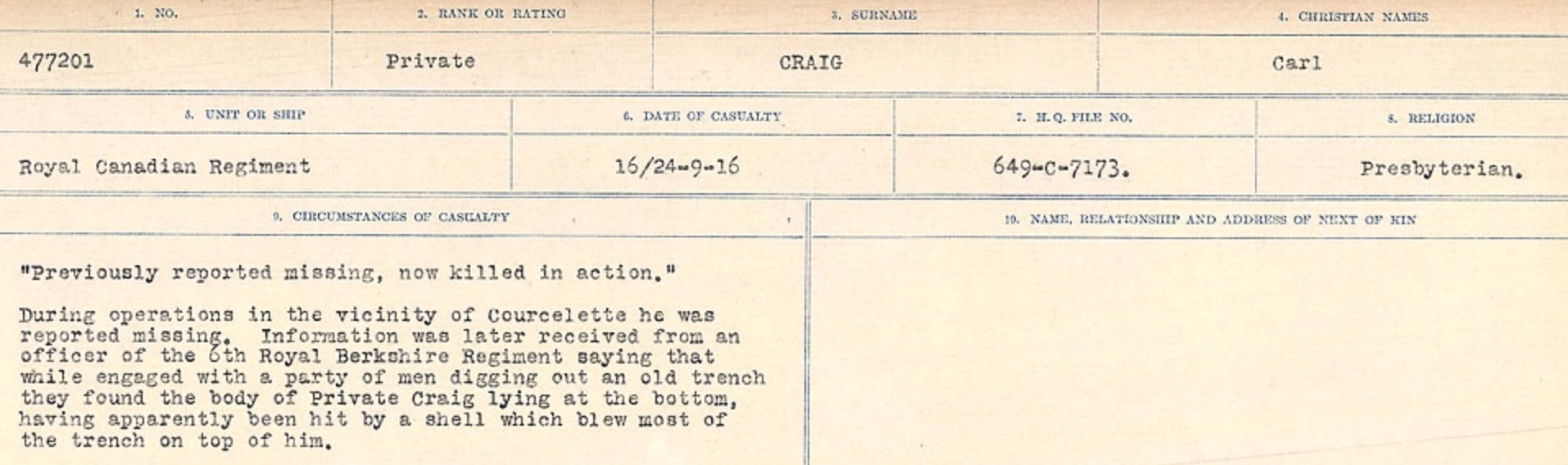 Circumstances of Death Registers– Source: Library and Archives Canada. CIRCUMSTANCES OF DEATH REGISTERS, FIRST WORLD WAR Surnames: CRABB TO CROSSLAND Microform Sequence 24; Volume Number 31829_B016733. Reference RG150, 1992-93/314, 168. Page 53  of 788.