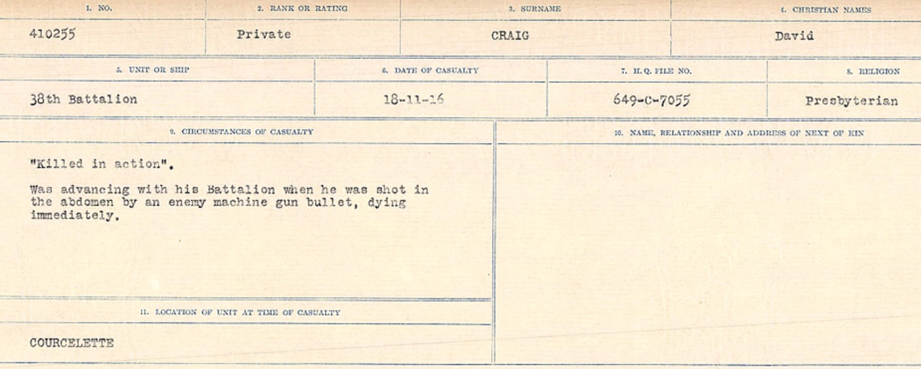 Circumstances of Death Registers– Source: Library and Archives Canada. CIRCUMSTANCES OF DEATH REGISTERS, FIRST WORLD WAR Surnames: CRABB TO CROSSLAND Microform Sequence 24; Volume Number 31829_B016733. Reference RG150, 1992-93/314, 168. Page 69  of 788.