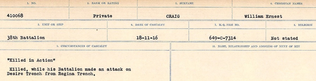 Circumstances of Death Registers– Source: Library and Archives Canada. CIRCUMSTANCES OF DEATH REGISTERS, FIRST WORLD WAR Surnames: CRABB TO CROSSLAND Microform Sequence 24; Volume Number 31829_B016733. Reference RG150, 1992-93/314, 168. Page 137 of 788.