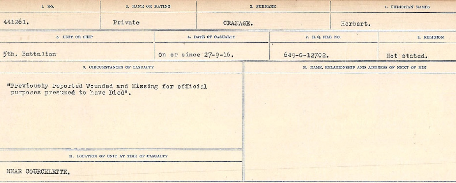 Circumstances of death registers– Source: Library and Archives Canada. CIRCUMSTANCES OF DEATH REGISTERS, FIRST WORLD WAR Surnames: CRABB TO CROSSLAND Microform Sequence 24; Volume Number 31829_B016733. Reference RG150, 1992-93/314, 168. Page 201 of 788.