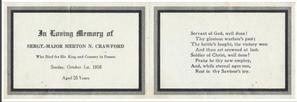 Memorial– Merton Crawford of New Brunswick enlisted in the Canadian Mounted Rifles in March 1915, and went missing in action during the last weeks of the Somme campaign in 1916.  Mourning card 11.7cm x 7.9cm Ley and Lois Smith War, Memory and Popular Culture Research Collection - The University of Western Ontario - London, Ontario