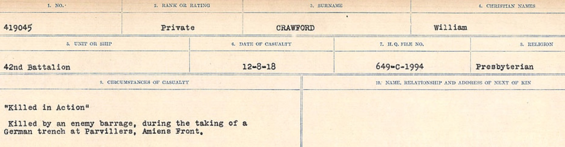 Circumstances of death registers– Source: Library and Archives Canada. CIRCUMSTANCES OF DEATH REGISTERS, FIRST WORLD WAR Surnames: CRABB TO CROSSLAND Microform Sequence 24; Volume Number 31829_B016733. Reference RG150, 1992-93/314, 168. Page 413 of 788.