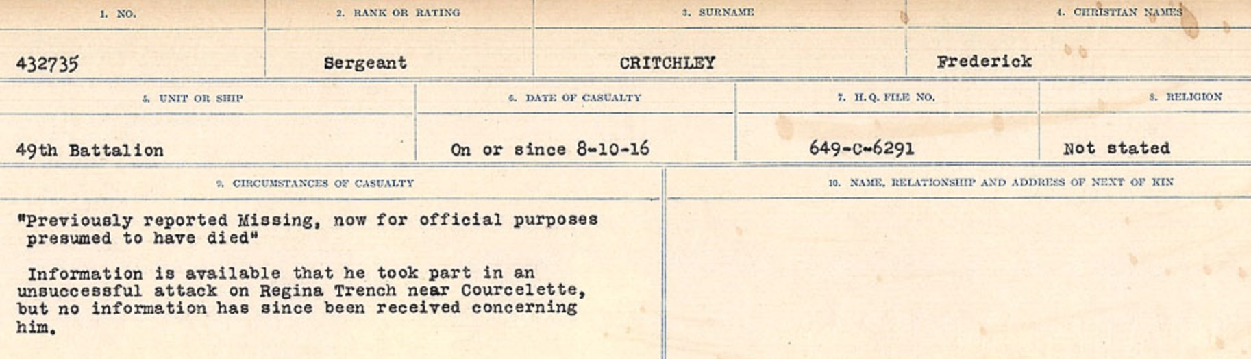 Circumstances of death registers– Source: Library and Archives Canada. CIRCUMSTANCES OF DEATH REGISTERS, FIRST WORLD WAR Surnames: CRABB TO CROSSLAND Microform Sequence 24; Volume Number 31829_B016733. Reference RG150, 1992-93/314, 168. Page 555 of 788