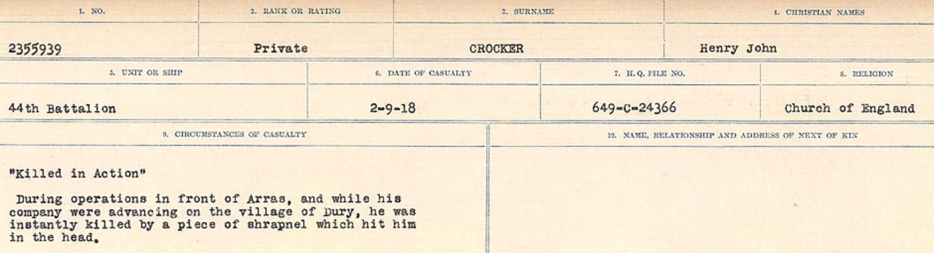 Circumstances of death registers– Source: Library and Archives Canada. CIRCUMSTANCES OF DEATH REGISTERS, FIRST WORLD WAR Surnames: CRABB TO CROSSLAND Microform Sequence 24; Volume Number 31829_B016733. Reference RG150, 1992-93/314, 168. Page 583 of 788