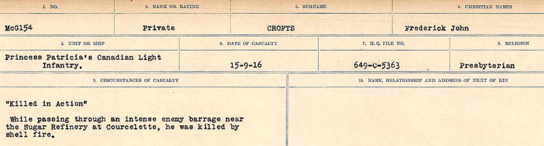 Circumstances of death registers– Source: Library and Archives Canada. CIRCUMSTANCES OF DEATH REGISTERS, FIRST WORLD WAR Surnames: CRABB TO CROSSLAND Microform Sequence 24; Volume Number 31829_B016733. Reference RG150, 1992-93/314, 168. Page 625 of 788. Buried 3 miles North East of Albert.