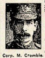 Coupure de presse – Caporal suppléant Mitchell Crombie s'était enrôlé à Toronto au mois de Mars, 1916. À la mémoire vénérée.