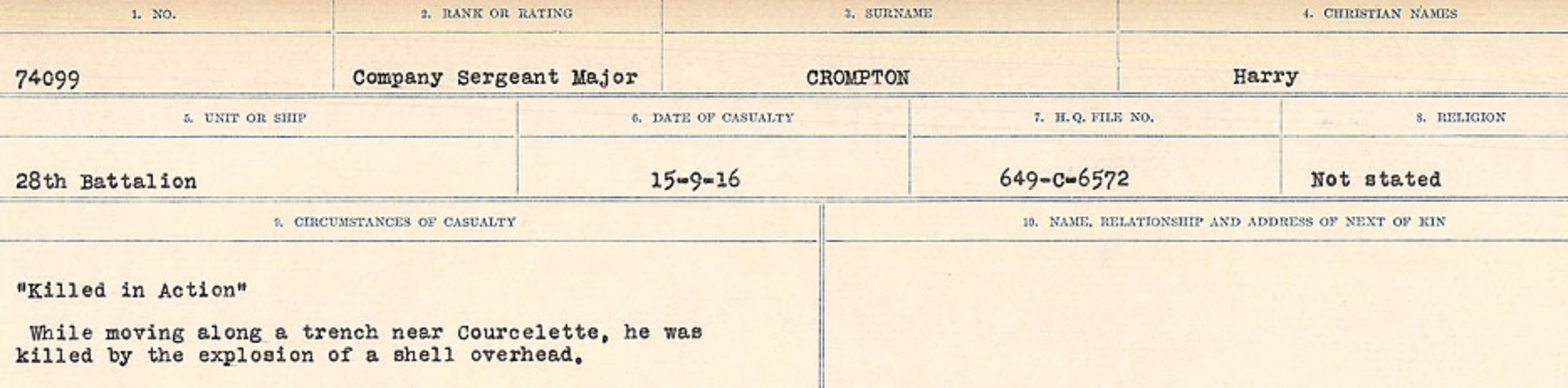 Circumstances of death registers– Source: Library and Archives Canada. CIRCUMSTANCES OF DEATH REGISTERS, FIRST WORLD WAR Surnames: CRABB TO CROSSLAND Microform Sequence 24; Volume Number 31829_B016733. Reference RG150, 1992-93/314, 168. Page 645 of 788.
