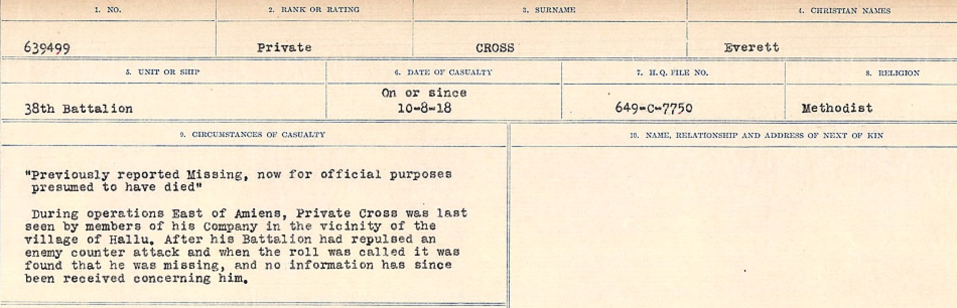 Circumstances of death registers– Source: Library and Archives Canada. CIRCUMSTANCES OF DEATH REGISTERS, FIRST WORLD WAR Surnames: CRABB TO CROSSLAND Microform Sequence 24; Volume Number 31829_B016733. Reference RG150, 1992-93/314, 168. Page 757 of 788.