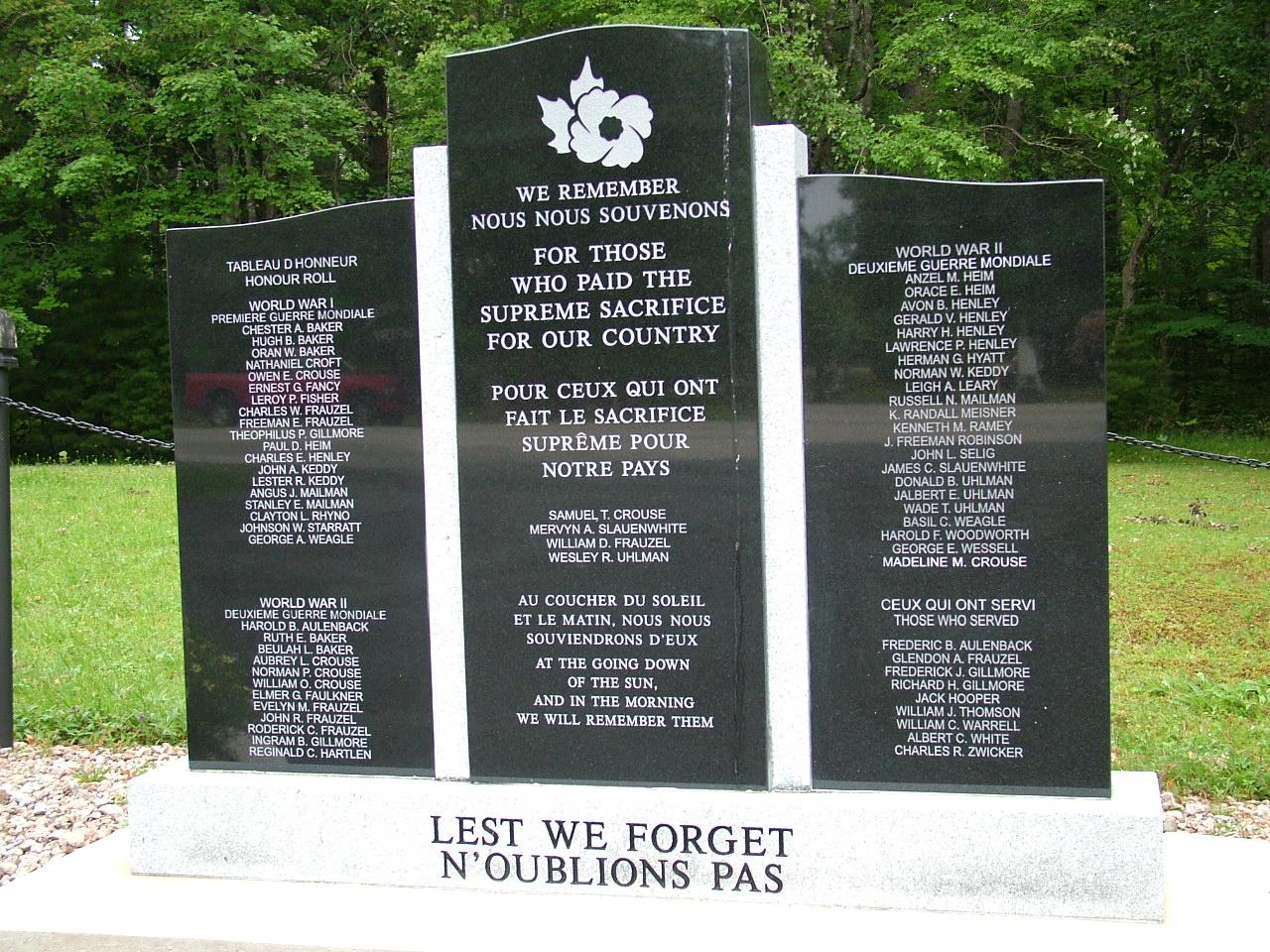 Mémorial – Chelsea, Nouvelle-Écosse, Canada  Samuel Theodore Crouse, Fils de James Elkanah Crouse et Eliza Annie Frank