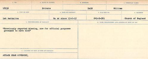 Circumstances of death registers– Source: Library and Archives Canada. CIRCUMSTANCES OF DEATH REGISTERS, FIRST WORLD WAR Surnames: Dack to Dabate. Microform Sequence 26; Volume Number 31829_B016735. Reference RG150, 1992-93/314, 170. Page 71 of 1140.