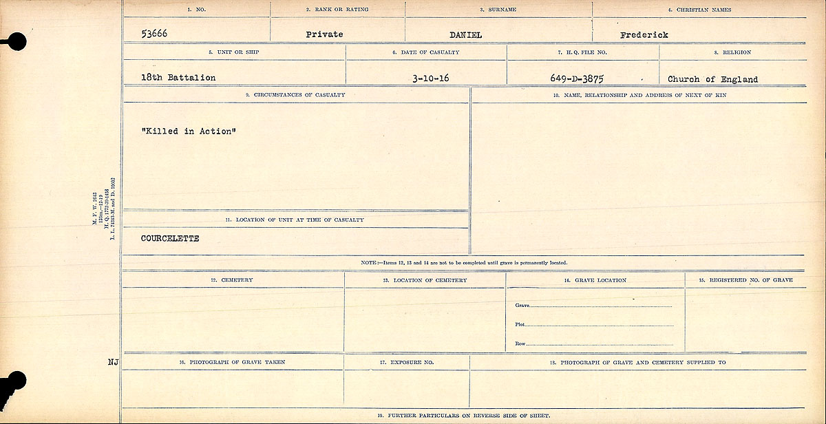 """Circumstances of Death Registers– """"Killed in Action"""" Contributed by E. Edwards 18thbattalioncef.wordpress.com"""