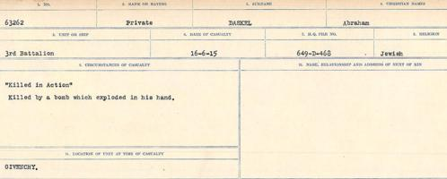 Circumstances of death registers– Source: Library and Archives Canada. CIRCUMSTANCES OF DEATH REGISTERS, FIRST WORLD WAR Surnames: Dack to Dabate. Microform Sequence 26; Volume Number 31829_B016735. Reference RG150, 1992-93/314, 170. Page 495 of 1140. No record of burial.