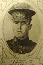 Photo of Frank Daw– University of Manitoba Roll of Honour 1914-1918.  Winnipeg, 1923. Roll of the Fallen (pg. 18) - DAW, Frank:  Agric. '18; Enlisted 26-5-16; Pte. 13th C.M.R.; Service in France; Killed in Action 1-4-18.