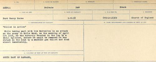 Circumstances of death registers– Source: Library and Archives Canada. CIRCUMSTANCES OF DEATH REGISTERS, FIRST WORLD WAR. Surnames: Davy to Detro. Microform Sequence 27; Volume Number 31829_B016736. Reference RG150, 1992-93/314, 171. Page 15 of 1036.