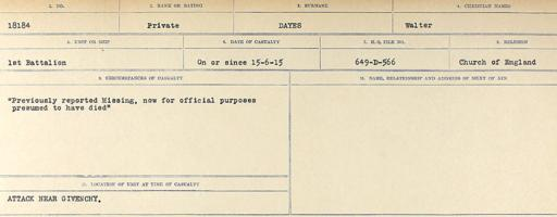 Circumstances of death registers– Source: Library and Archives Canada. CIRCUMSTANCES OF DEATH REGISTERS, FIRST WORLD WAR. Surnames: Davy to Detro. Microform Sequence 27; Volume Number 31829_B016736. Reference RG150, 1992-93/314, 171. Page 193 of 1036.