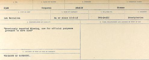 Circumstances of death registers– Source: Library and Archives Canada. CIRCUMSTANCES OF DEATH REGISTERS, FIRST WORLD WAR. Surnames: Davy to Detro. Microform Sequence 27; Volume Number 31829_B016736. Reference RG150, 1992-93/314, 171. Page 245 of 1036