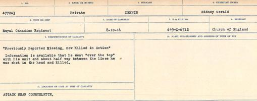 Circumstances of death registers– Source: Library and Archives Canada. CIRCUMSTANCES OF DEATH REGISTERS, FIRST WORLD WAR. Surnames: Davy to Detro. Microform Sequence 27; Volume Number 31829_B016736. Reference RG150, 1992-93/314, 171. Page 761 of 1036.