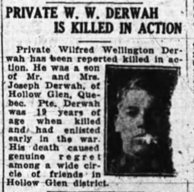 Newspaper Clipping– From: The Ottawa Journal, 23 Oct 1918, pg 2