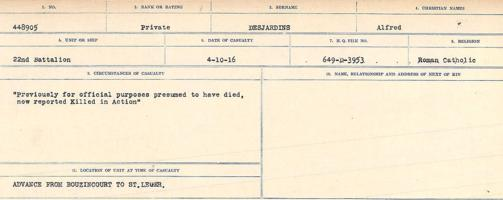 Circumstances of death registers– Source: Library and Archives Canada. CIRCUMSTANCES OF DEATH REGISTERS, FIRST WORLD WAR. Surnames: Davy to Detro. Microform Sequence 27; Volume Number 31829_B016736. Reference RG150, 1992-93/314, 171. Page 955 of 1036.