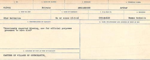 Circumstances of death registers– Source: Library and Archives Canada. CIRCUMSTANCES OF DEATH REGISTERS, FIRST WORLD WAR. Surnames: Davy to Detro. Microform Sequence 27; Volume Number 31829_B016736. Reference RG150, 1992-93/314, 171. Page 957 of 1036.