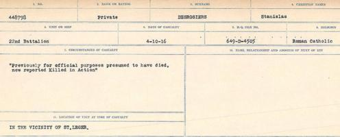 Circumstances of death registers– Source: Library and Archive s Canada. CIRCUMSTANCES OF DEATH REGISTERS, FIRST WORLD WAR. Surnames: Davy to Detro. Microform Sequence 27; Volume Number 31829_B016736. Reference RG150, 1992-93/314, 171. Page 1015 of 1036.