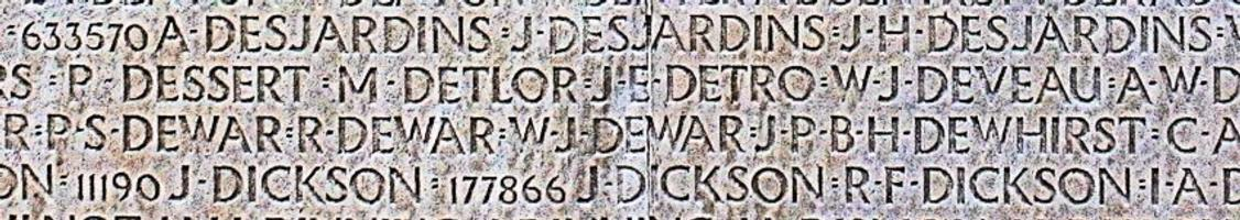 Memorial– His name as it is inscribed on the Vimy Memorial. Over 11,000 fallen Canadians having no known place of burial in France, are honoured on this Memorial. May they never be forgotten. (J. Stephens)
