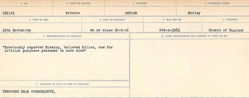 Circumstances of death registers– Source: Library and Archives Canada. CIRCUMSTANCES OF DEATH REGISTERS, FIRST WORLD WAR. Surnames: Davy to Detro. Microform Sequence 27; Volume Number 31829_B016736. Reference RG150, 1992-93/314, 171. Page 1025 of 1036.