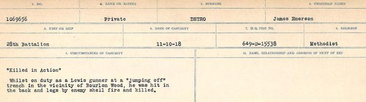 Circumstances of death registers– Source: Library and Archives Canada. CIRCUMSTANCES OF DEATH REGISTERS, FIRST WORLD WAR. Surnames: Davy to Detro. Microform Sequence 27; Volume Number 31829_B016736. Reference RG150, 1992-93/314, 171. Page 1035 of 1036.