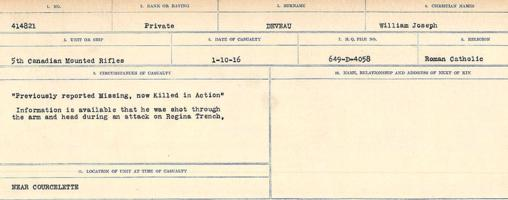 Circumstances of death registers– Source: Library and Archives Canada. CIRCUMSTANCES OF DEATH REGISTERS, FIRST WORLD WAR. Surnames: Deuel to Domoney. Microform Sequence 28; Volume Number 31829_B016737. Reference RG150, 1992-93/314, 172. Page 27 of 1084.