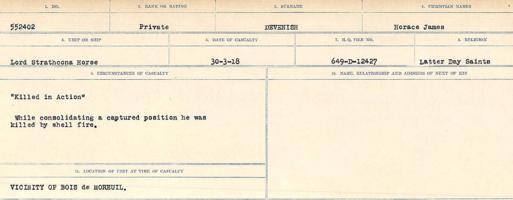 Circumstances of death registers– Source: Library and Archives Canada. CIRCUMSTANCES OF DEATH REGISTERS, FIRST WORLD WAR. Surnames: Deuel to Domoney. Microform Sequence 28; Volume Number 31829_B016737. Reference RG150, 1992-93/314, 172. Page 35 of 1084.