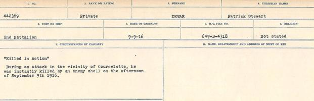 Circumstances of death registers– Source: Library and Archives Canada. CIRCUMSTANCES OF DEATH REGISTERS, FIRST WORLD WAR. Surnames: Deuel to Domoney. Microform Sequence 28; Volume Number 31829_B016737. Reference RG150, 1992-93/314, 172. Page 139 of 1084. Body not recovered.
