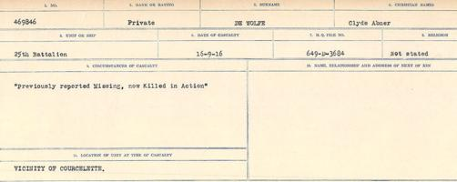 Circumstances of death registers– Source: Library and Archives Canada. CIRCUMSTANCES OF DEATH REGISTERS, FIRST WORLD WAR. Surnames: Deuel to Domoney. Microform Sequence 28; Volume Number 31829_B016737. Reference RG150, 1992-93/314, 172. Page 177 of 1084.