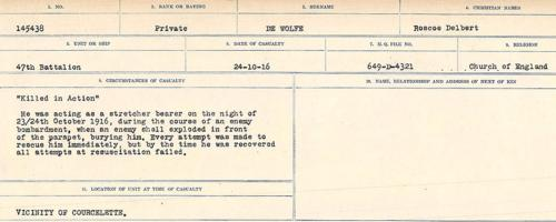 Circumstances of death registers– Source: Library and Archives Canada. CIRCUMSTANCES OF DEATH REGISTERS, FIRST WORLD WAR. Surnames: Deuel to Domoney. Microform Sequence 28; Volume Number 31829_B016737. Reference RG150, 1992-93/314, 172. Page 181 of 1084.