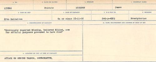 Circumstances of death registers– Source: Library and Archives Canada. CIRCUMSTANCES OF DEATH REGISTERS, FIRST WORLD WAR. Surnames: Deuel to Domoney. Microform Sequence 28; Volume Number 31829_B016737. Reference RG150, 1992-93/314, 172. Page 403 of 1084.