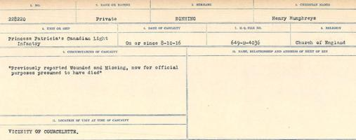 Circumstances of death registers– Source: Library and Archives Canada. CIRCUMSTANCES OF DEATH REGISTERS, FIRST WORLD WAR. Surnames: Deuel to Domoney. Microform Sequence 28; Volume Number 31829_B016737. Reference RG150, 1992-93/314, 172. Page 557 of 1084.