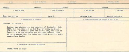 Circumstances of death registers– Source: Library and Archives Canada. CIRCUMSTANCES OF DEATH REGISTERS, FIRST WORLD WAR. Surnames: Don to Drzewiecki. Microform Sequence 29; Volume Number 31829_B016738. Reference RG150, 1992-93/314, 173. Page 183 of 1076.