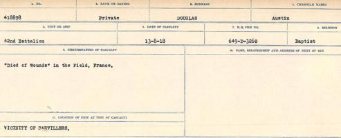 Circumstances of death registers– Source: Library and Archives Canada. CIRCUMSTANCES OF DEATH REGISTERS, FIRST WORLD WAR. Surnames: Don to Drzewiecki. Microform Sequence 29; Volume Number 31829_B016738. Reference RG150, 1992-93/314, 173. Page 441 of 1076.