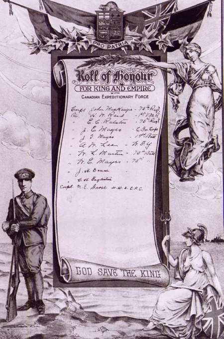 Honour roll– Loyal Orange Order, Craigvale, Ontario Honour Roll