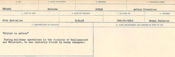 Circumstances of death registers– Source: Library and Archives Canada. CIRCUMSTANCES OF DEATH REGISTERS, FIRST WORLD WAR. Surnames: Don to Drzewiecki. Microform Sequence 29; Volume Number 31829_B016738. Reference RG150, 1992-93/314, 173. Page 757 of 1076.  His grave was located near the woods at Guillaucourt.  Subsequently his grave could not be found. Hence his sacrifice is commemorated on the Vimy Memorial.