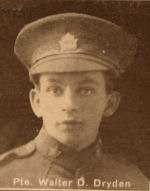 Photo of Walter Dryden– In memory of the men and women from the Waterloo area who went to war and did not come home. From the booklet, Peace Souvenir – Activities of Waterloo County in the Great War 1914 – 1918. From the Toronto Public Library collection.  Submitted for the project, Operation: Picture Me.
