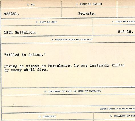 """Circumstances of death registers– """"Killed in Action"""" During an attack on Marcelcave, he was instantly killed by an enemy shell. Contributed by E.Edwards www.18thbattalioncef.wordpress.com"""