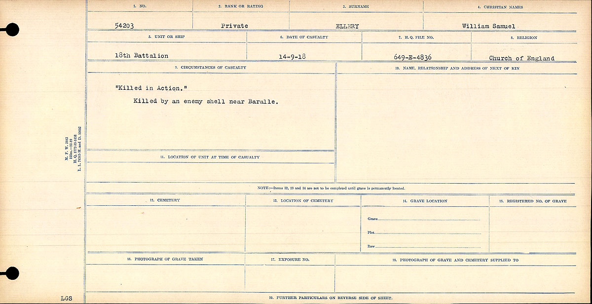Record of Service– Circumstances of Death Card.