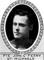 Photo of John Feeney– From: The Varsity Magazine Supplement published by The Students Administrative Council, University of Toronto 1918.   Submitted for the Soldiers' Tower Committee, University of Toronto, by Operation Picture Me.