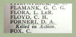 Inscription– Detail of Lt. David Alwyn Forneri's name as it appeared on the Merchants Bank of Canada 1914 - 1918 Roll of Honour.