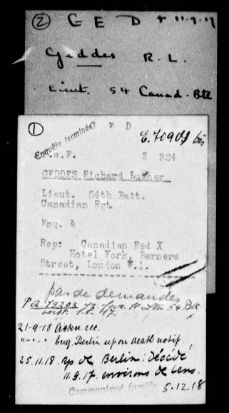 Document– Lt. Geddes died while a Prisoner of War in the vicinity of Lens. This is reported in the archives of the International Committee of the Red Cross.