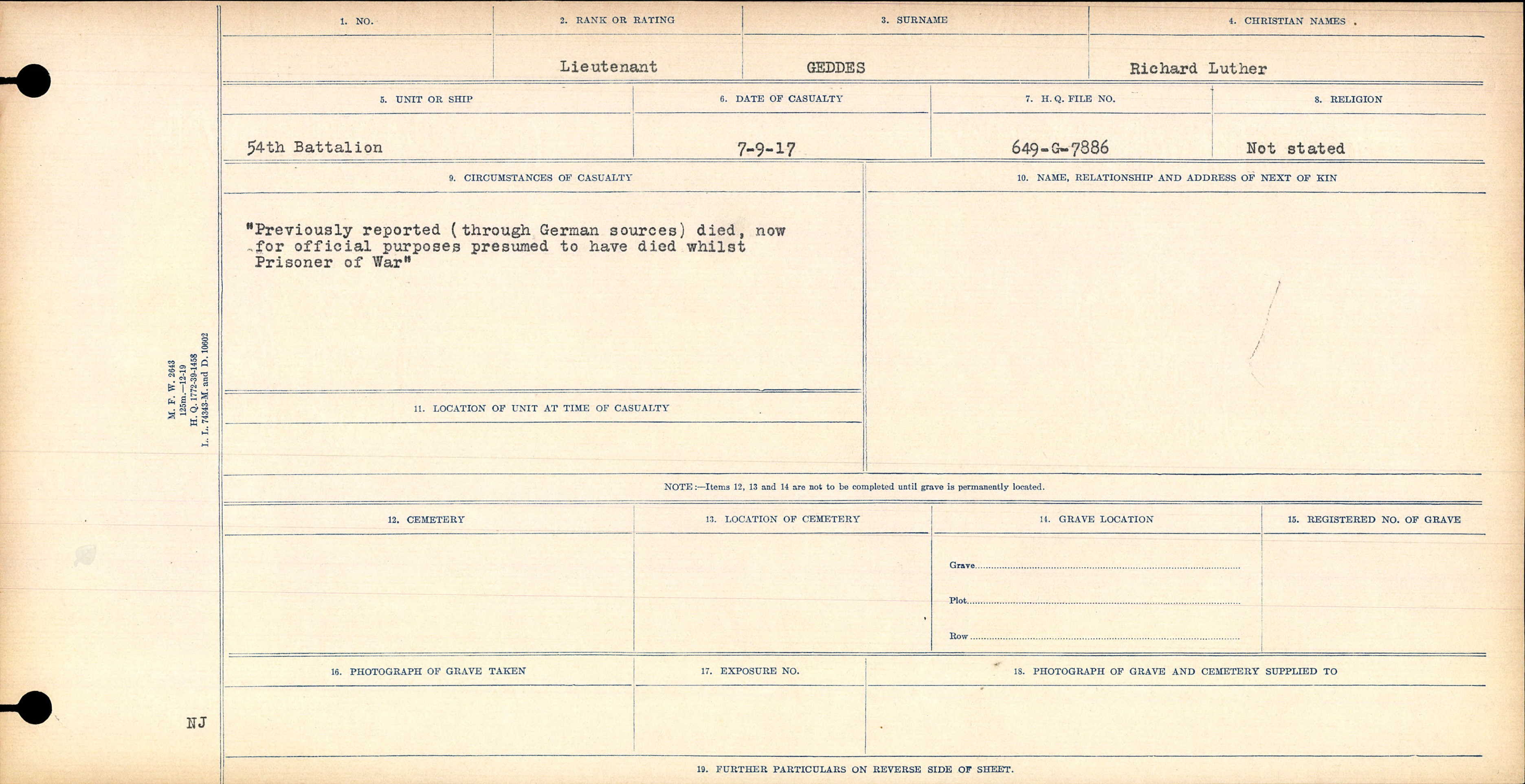 Circumstances of Death Registers– Lt. Geddes died while a Prisoner of War in the vicinity of Lens. This is reported on his Circumstance of Death record.