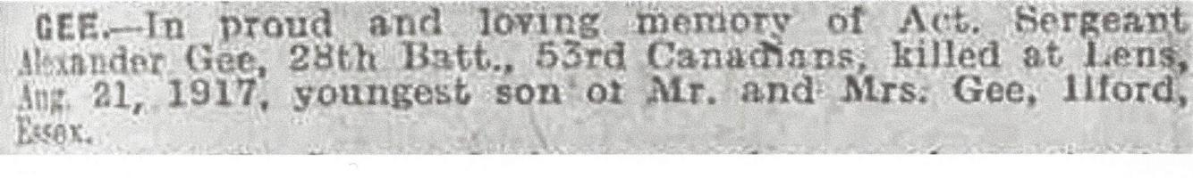 Newspaper clipping– From the Daily Colonist of August 21, 1918. Image taken from web address of https://www.telegraph.co.uk/news/ww1-archive/12215473/Daily-Telegraph-August-21-1918.html