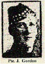 Newspaper Clipping– Brothers Pte. Charles Gordon and Pte. James Gordon both died during the First World War.  Pte James Gordon, 799154, served with the 15th Battalion Central Ontario Regiment, and died on March 2nd, 1917.