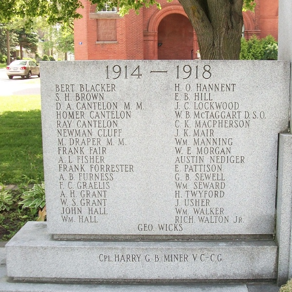 Clinton War Memorial– Private Frank Clifford Grealis is also commemorated on the Memorial in Clinton, ON … First World War names … Photo courtesy of Marg Liessens